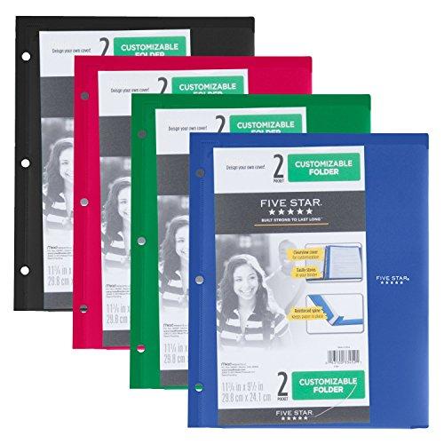 Five Star 2-Pocket Folder, Customizable Cover, Folder with Pockets, Fits 3 Ring Binder, Plastic, 4 Pack (5 Reinforced Pockets)