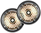 120mm Honeycore Pro Stunt Trick Kick Scooter Wheels (Pair) - Fast Hollowcore - Push Scooter Tires - 120mm Freestyle Speed Urethane - Fit Most Setups - 24mm x 120mm - Bearings (Black/Copper)