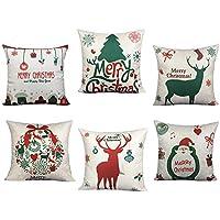 BLUETTEK 6 Paquetes de fundas de almohadas de Navidad, Papá Noel impreso, Árbol de Navidad, Ciervo, 18 x 18 pulgadas Fundas de almohada de decoración navideña Fundas de cojines para cama y sofá