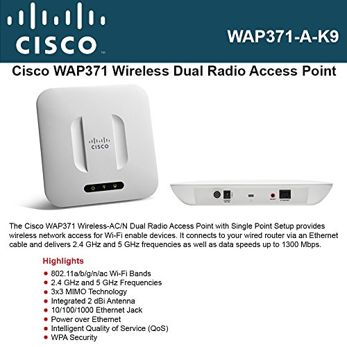 Cisco Small Business WAP371-A-K9 Wireless-AC/N Dual Radio Access Point with Single Point Setup by Cisco