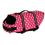 Egmy Pet Life Jacket Pet Products Outward Adjustable Doggy Life Vest with Rescue Handle (XL, Pink) For Sale
