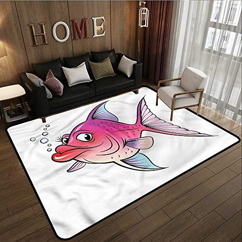 Non-Slip Rug Fish Cartoon Female Goldfish Ideal Gift for Children 3'3