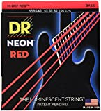 DR Handmade Strings NRB5-45 K3 Neon Hi-Def 5 Bass Guitar Strings, Medium, Red