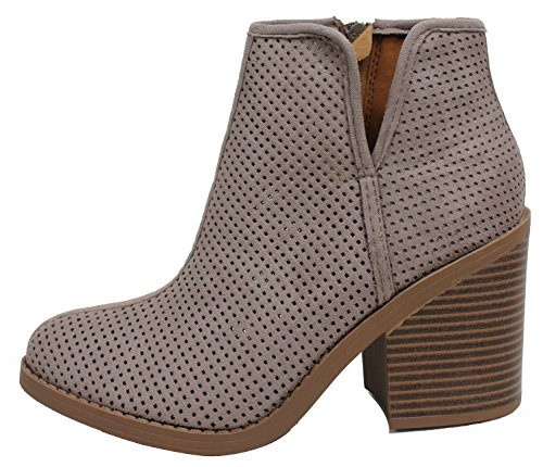 MVE Shoes SodaWomens Tarpon Perforated Stacked Block Heel Ankle Bootie