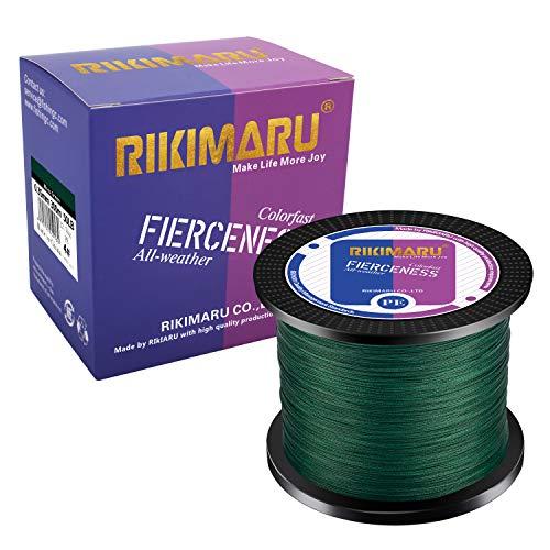 RIKIMARU Braided Fishing Line Abrasion Resistant Superline Zero Stretch&Low Memory Extra Thin Diameter Green 327Yds,10LB