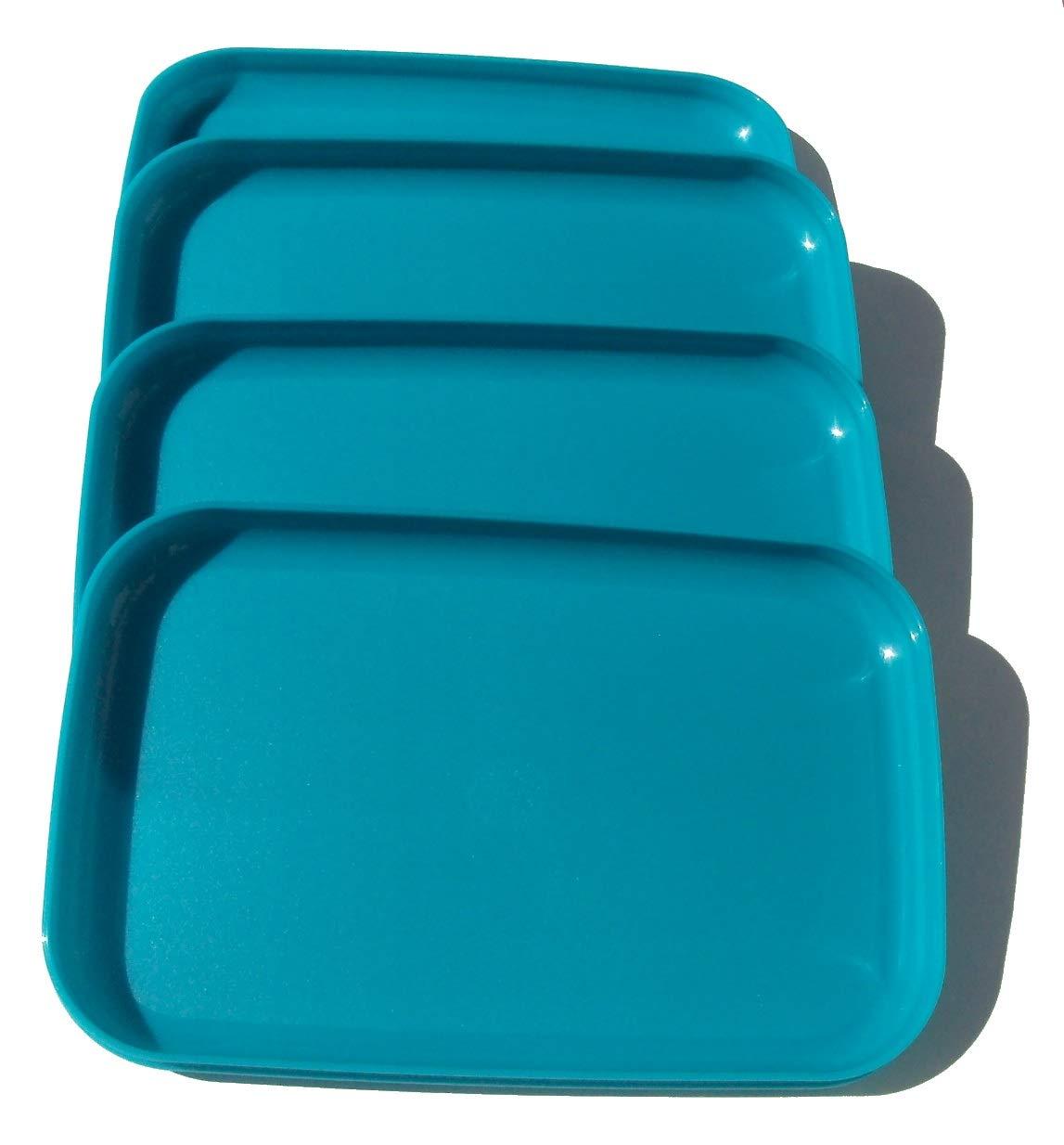 Tupperware Rectangular Luncheon Plates Peacock Blue Set of 4