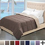 Alternative Comforter - Ultra-Soft Premium 1800 Series Goose Down Alternative Reversible Comforter - Hypoallergenic - All Season - Plush Fiberfill (Full/Queen, Taupe/Sand)