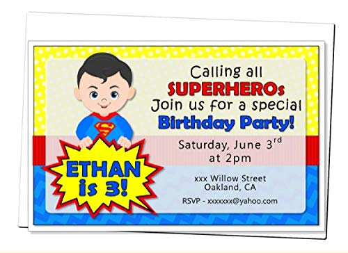 Personalized Superhero Birthday Party or Baby Shower Invitation - Optional Heros Superman, Batman, Captain America, Wonder Woman, Super Girl - Optional Decorations Banner, Sign, Favor Tags, Thank Yous