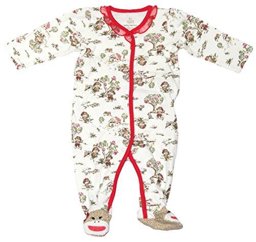 Pajamas Monkey Footed (Baby Starters Baby Girls Sock Monkey Footed Blanket Sleeper Onesie Pajama (Tan, 9 Months))