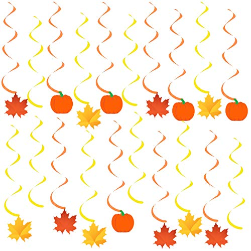 Autumn Hanging Swirls Thanksgiving Decorations – Pack of 35, Pumpkin and Maple Leaf Fall Themed Decorations Supplies | No DIY Required | Great for Birthday Party, Outdoor Garden, Home Office Decor Kit -