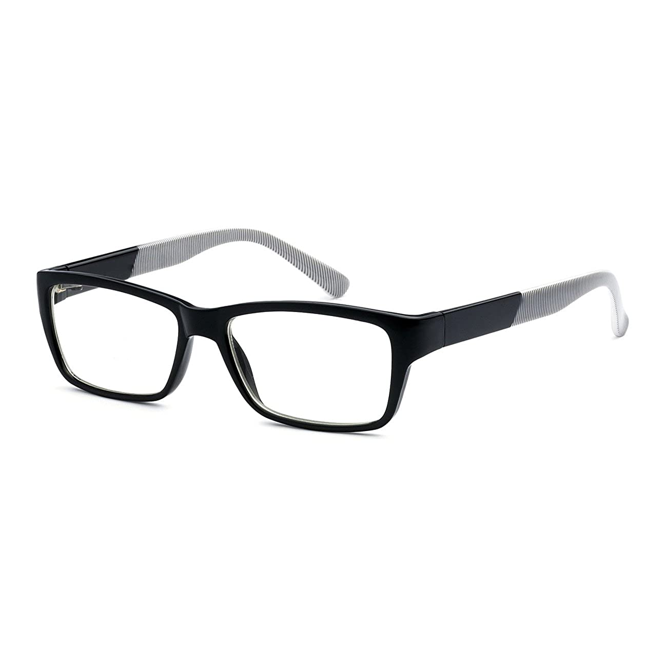 NERD Eyewear Stripe Rectangular Men Women Frame Clear Lens Eye Glasses/ BLACK