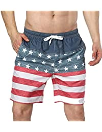 Mens Swim Trunks with Mesh Lining Pockets Funny Chicken Pig Cow Boys Polyester Board Shorts Swimwear