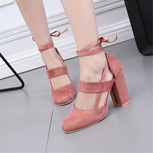 Work Round Shoes Chunky High Sandals up Shoes Suede Lace Toe Party Pink Heel Sandals Women Mid junkai Heel Office xTq1Yfaq