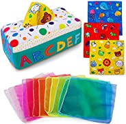 teytoy My First Baby Tissue Box, Soft Stuffed High Contrast Crinkle Montessori Square Sensory Toys Juggling Ra