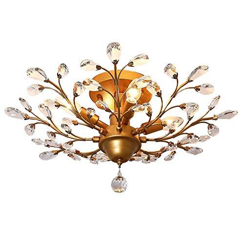 Ganeed Crystal Chandeliers,K9 Crystal LED Ceiling Light,Vintage Light Fixtures Pendant Lighting for Living Room Bedroom Restaurant Porch Chandelier(4-Light,Golden)