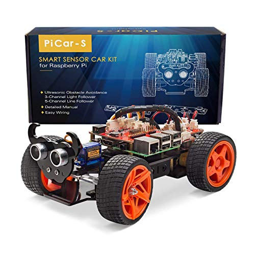 SunFounder SunFounder Raspberry Pi Car DIY Robot Kit for Kids and Adults, Visual Programming with Ultrasonic Sensor Light Following Module and Tutorial price tips cheap