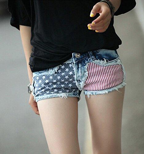 Penguins Sexy Girls American Us Flag Mini Jeans Shorts 1Pc Stylish 1Pc Sexy Shorts -8815