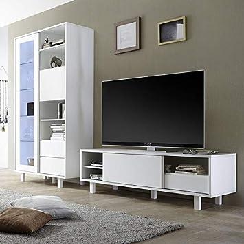 M 012 Ensemble Meuble Tv Design Blanc Laque Palazio Amazon Fr