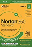 Norton 360 Standard - Antivirus software for 1 Device with Auto Renewal - Includes VPN, PC Cloud Backup - 2020 Ready [Key Card]