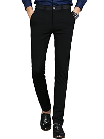 b426bef4281 VEGORRS Men s Wrinkle-Free Slim Fit Dress Pants Stretch Casual Suit Pant  Trousers for Men