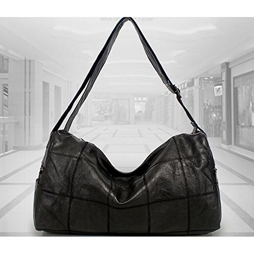 Bags Genuine Zipper Bag Shoulder Dark Gmyan Leather Women's Grey Black RxOn55