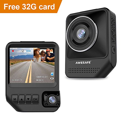 AWESAFE Dual Dash Cam for Cars Front and Inside Dash Cam with 1920X1080P 170°Wide Angle?Night Vision?Sony Sensor?Parking Monitor?Motion Detection for Uber?Taix?32GB Card Included?