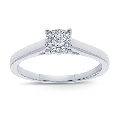Review La Joya 0.05ct Round White Natural Diamond Sterling Silver Miracle Plate Solitaire Ring Wedding Engagement Ring Promise Ring