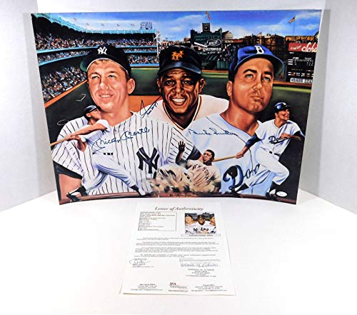 Mickey Mantle/Willie Mays/Duke Snider Signed 18x24 Color Poster 3 Autos - JSA Certified - Autographed MLB Photos
