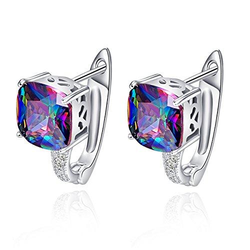 - BONLAVIE 6.8 Ct Cushion Cut Created Rainbow Fire Mystic Topaz Cubic Zirconia Lever Back Piercing Earrings