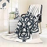 vanfan Throw Fuzzy Fleece Microfiber Blanket Eastern Islamic Motif Arabic Effects Filigree Swirled Artsy Print Pearl Grey,Silky Soft,Anti-Static,2 Ply Thick Blanket. (62''x60'')