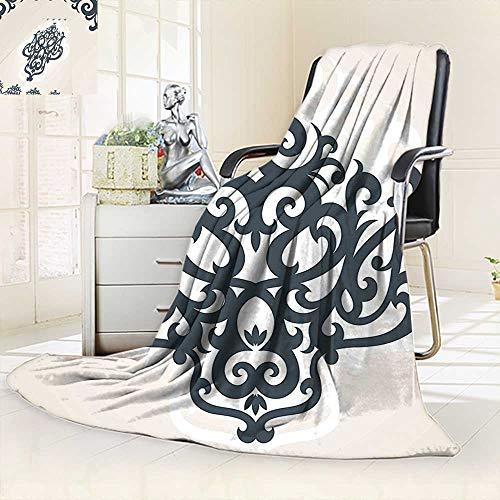 vanfan Throw Fuzzy Fleece Microfiber Blanket Eastern Islamic Motif Arabic Effects Filigree Swirled Artsy Print Pearl Grey,Silky Soft,Anti-Static,2 Ply Thick Blanket. (62''x60'') by vanfan