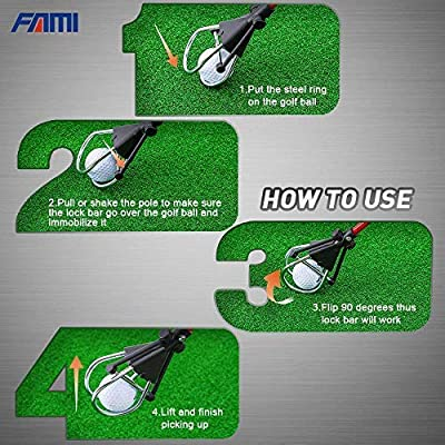 """FAMI Golf Ball Retriever Device Automatically Portable Telescopic Golf Ball Pick Up Ball Retriever Scoop Pick Up, 24"""" to 72"""" Retracted Length, Stainless Steel Shaft"""