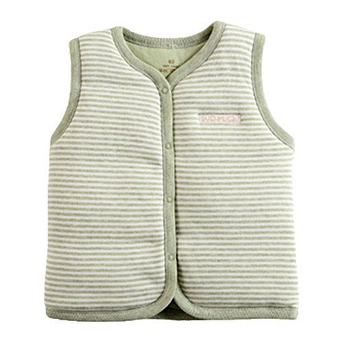 Twelve Cotton Coat (Monvecle Baby Cotton Warm Vests Unisex Infant To Toddler Padded Waistcoat Green Stripe 12-18M)