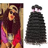 Miss GAGA 3 Bundles 8A Deep Wave (24 26 28) 100% Unprocessed Virgin Human Hair Peruvian Deep Wave 3 Bundles No Shedding Natural Black Color Can Be Dyed and Bleached