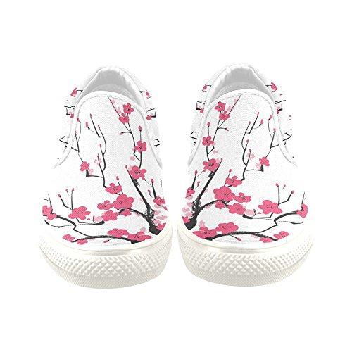 D-Story Custom Sneaker Plum Blossom Women Unusual Slip-on Canvas Shoes sgP126VtlH