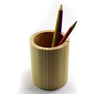 WOODEN ROUND PENCIL HOLDER Stationery Organizer Container Desk Office Kids  GIFT