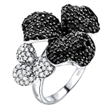 Mother's Day Gift Women's Sterling Silver .925 Dark and Light Flowers Ring Featuring 148 Jet Black and White Cubic Zirconia (CZ) Stones, Platinum Plated jewelry