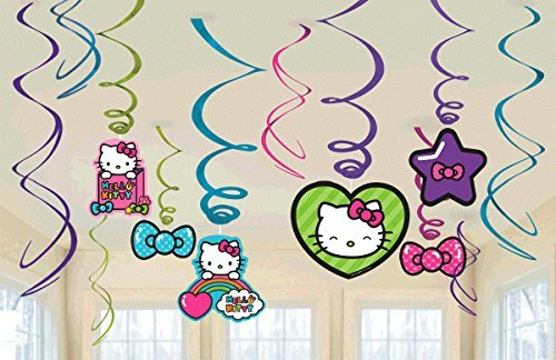 New Hello Kitty Rainbow Party Foil Hanging Swirl Decorations / Spiral Ornaments (12 PCS)- Party Supply, Party (Hello Kitty Ornaments)