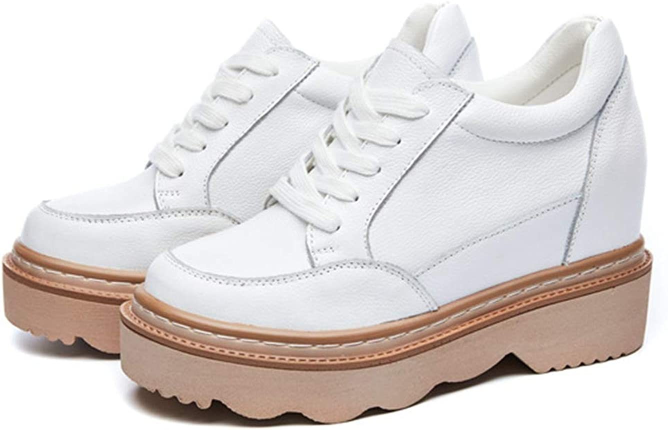 ASO-SLING Womens Wedge Sneakers Comfortable Breathable Leather Lace up Increased Height Platform Casual Walking Shoes