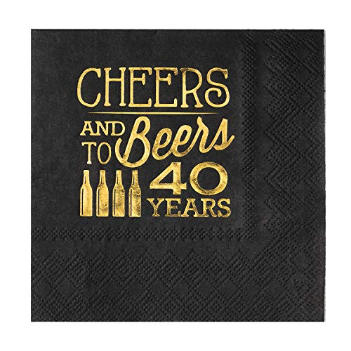 Crisky 40th Birthday Cocktail Napkins Black and Gold, Beverages Napkins for 40th Birthday Anniversary Decorations Cheers and Beers to 40 Years, 50 PCS, -