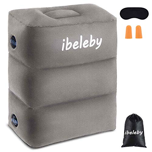 iBeleby Airplane Foot Rest, Inflatable Travel Pillow for Kids to Sleep, Adjustable Height Leg Rest Pillow in Office & Home, Toddlers Bed Box, Portable Travel Accessories for Long Flight, Car
