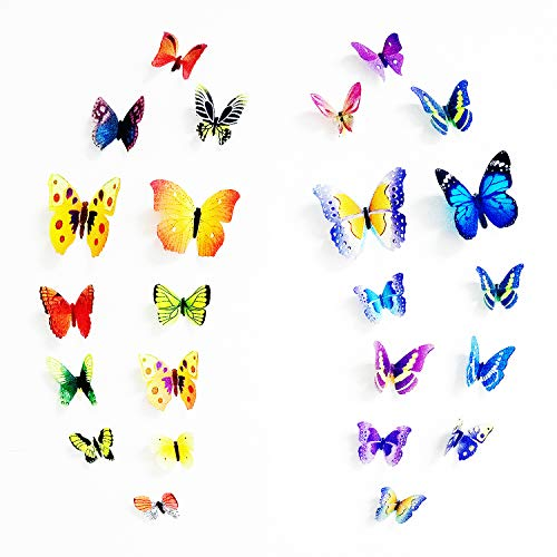 3D Butterfly Wall Stickers Wall Decorations 104PCS, DIY Art Home Decals for Bedroom, Living Room, -