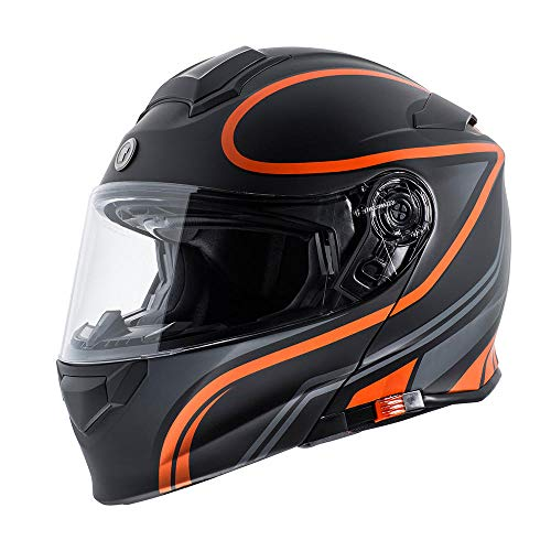 TORC Unisex-Adult Flip-Up Motorcycle Helmet (Matte Orange, X-Large)