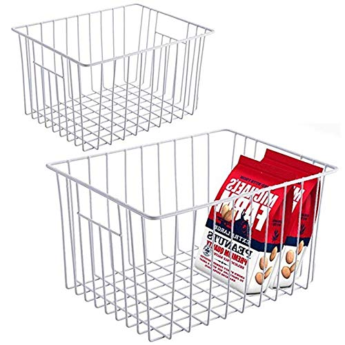 Slideep Refrigerator Freezer Storage Organizer Basket, Deep Wire Household Bins Container with Handles for Kitchen, Pantry, Freezer, Cabinet, Car, Bathroom - Pearl White, Set of 2