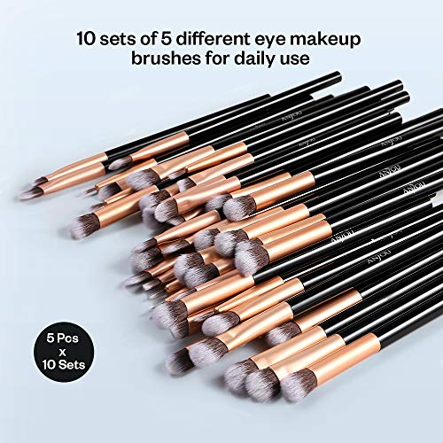50pcs Eye Makeup Brush, Anjou 5pcs Eye Makeup Brushes X 10 Set – 2 Eye Blending Brush, 2 Eyeshadow Brush, 1 Eyeliner Brush Included in Each Set for Essential Eye Makeup, 4 inch in Length