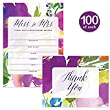 Bridal Shower Invitations & Matching Thank You Notes ( 100 of Each ) Set with Envelopes, Large Event Celebration Wedding Party 5 x 7'' Write-in Invites & Folded Thank You Cards Best Value Combination
