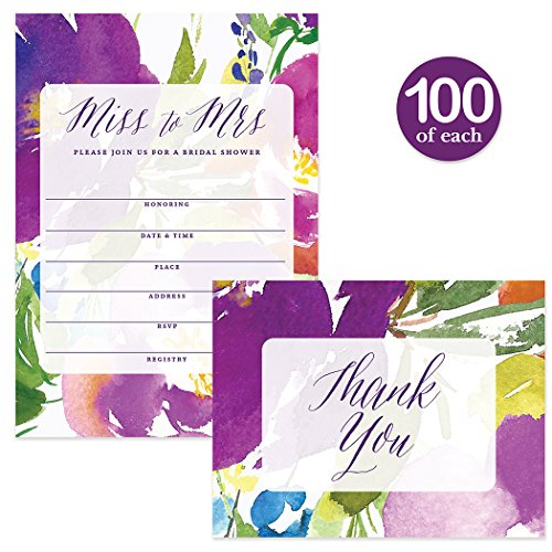 Bridal Shower Invitations & Matching Thank You Notes ( 100 of Each ) Set with Envelopes, Large Event Celebration Wedding Party 5 x 7'' Write-in Invites & Folded Thank You Cards Best Value Combination by Digibuddha