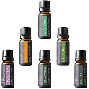 Aromatherapy Top 6 100% Pure Therapeutic Grade Basic Sampler Essential Oil Gift Basic sampler essential oil gift set 6/10ml (lavender, sweet orange, peppermint, lemongrass, tea tree, eucalyptus)