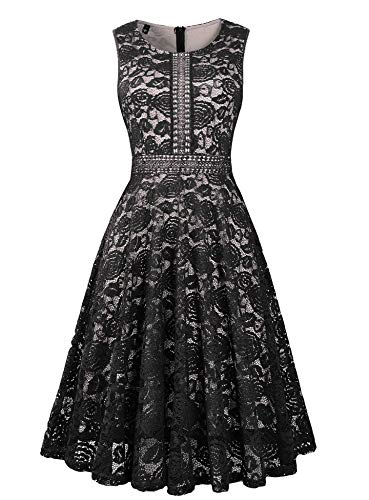 Twinklady Women's Vintage Full Lace Sleeveless Big Swing A-Line Dress (Black, S) ()