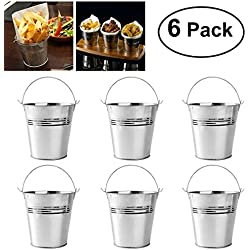OUNONA Mini Metal Bucket Set Of 6 10.5x7.2x10.5cm
